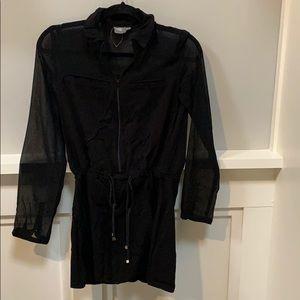 Long sleeve, black casual dress